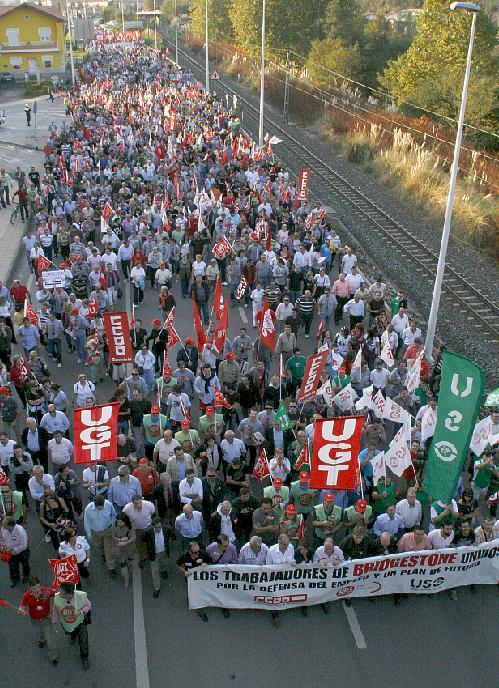 Manifestación de trabajadores de Bridgestone