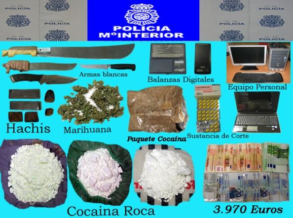 Imagen de la droga y efectos incautados.