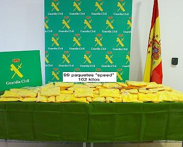 """La Guardia Civil interviene más de 100 kilos de """"speed"""" en una operación antidroga a nivel internacional"""