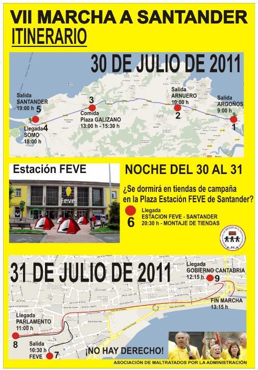 La Marcha a Santander de los afectados por sentencias de derribo recorrerá las principales instituciones