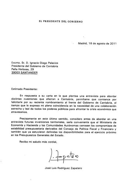 Respuesta de Rodríguez Zapatero, difundida por el gobierno de Cantabria