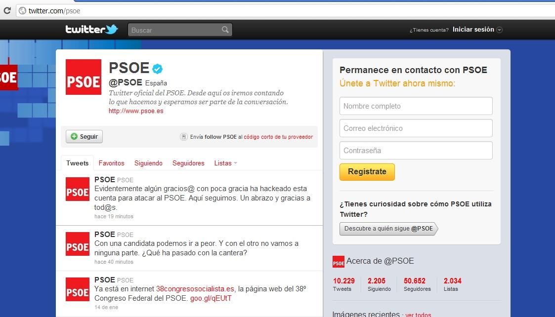 La cuenta Twitter del PSOE ha sido pirateada