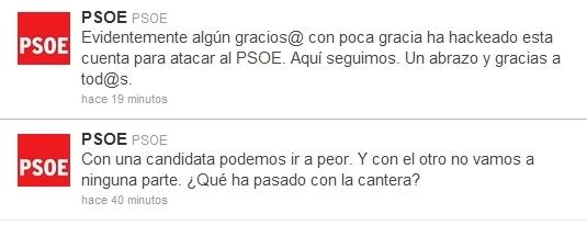 Pirateada la cuenta Twitter del PSOE para atacar a Chacón y Rubalcaba