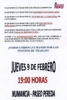 Una manifestación de apoyo a los trabajadores de Teka recorrerá el centro de Santander