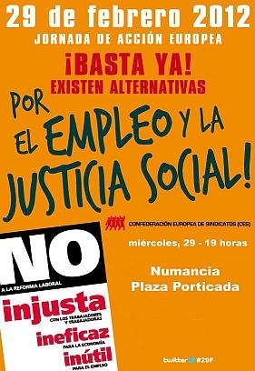 Convocada para este miércoles una manifestación coordinada por los sindicatos de toda Europa