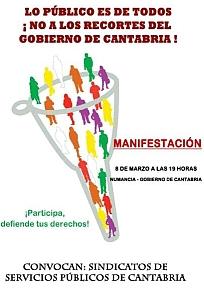 Convocada una manifestación contra los recortes del gobierno de Cantabria