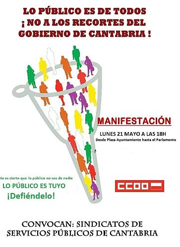 Convocada una manifestación contra los recortes en los servicios públicos del gobierno de Cantabria