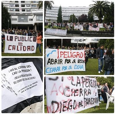 Más de dos centenares de personas se concentran contra el cierre de La Pereda