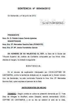 El Juzgado desestima la apelación de la CEOE y confirma como nulo el despido de Yves Díaz de Villegas