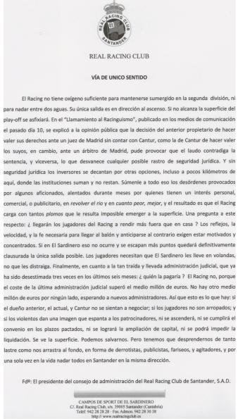Comunicado del Racing de Santander