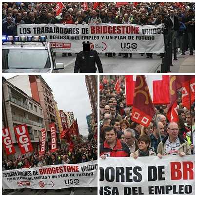 Más de 3.000 personas secundan la manifestación de los trabajadores de Bridgestone