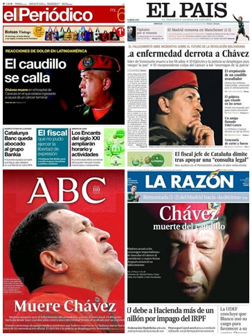 La muerte de Hugo Chávez copa las portadas de la prensa española
