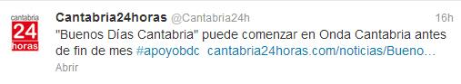 El primer titular de la falsa información tal como 'Cantabria24horas' lo difundió en Twitter