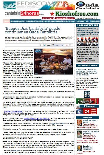 'Cantabria24horas' difunde una falsa información