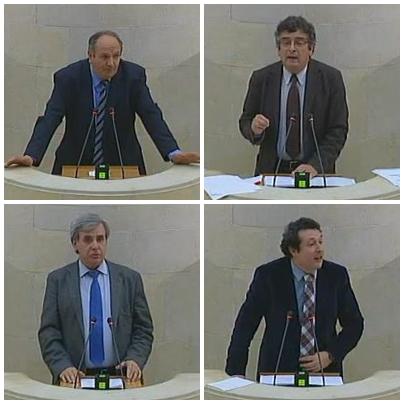 De izquierda a derecha y de arriba a abajo: Javier Fernández (PP); Juan Guimerans (PSOE); Rafael de la Sierra (PRC), Íñigo Fernández (PP) / Fotos: Parlamento de Cantabria