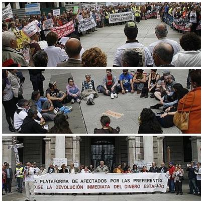 Miles de afectados por las preferentes exigen en Santander la devolución de su dinero