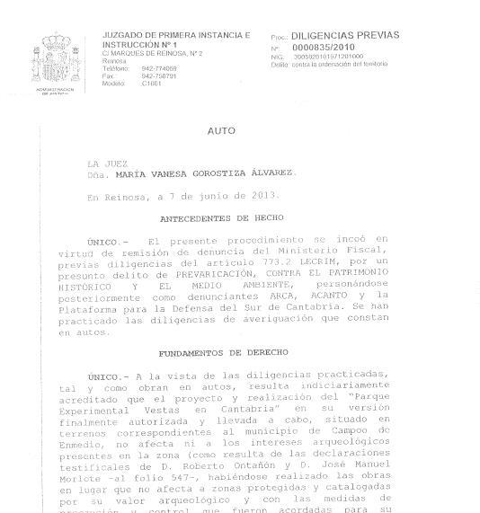 El juzgado archiva la denuncia por el molino de Vestas
