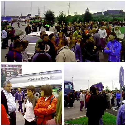 Mil personas cortaron ayer el tráfico durante media hora en la entrada a Torrelavega