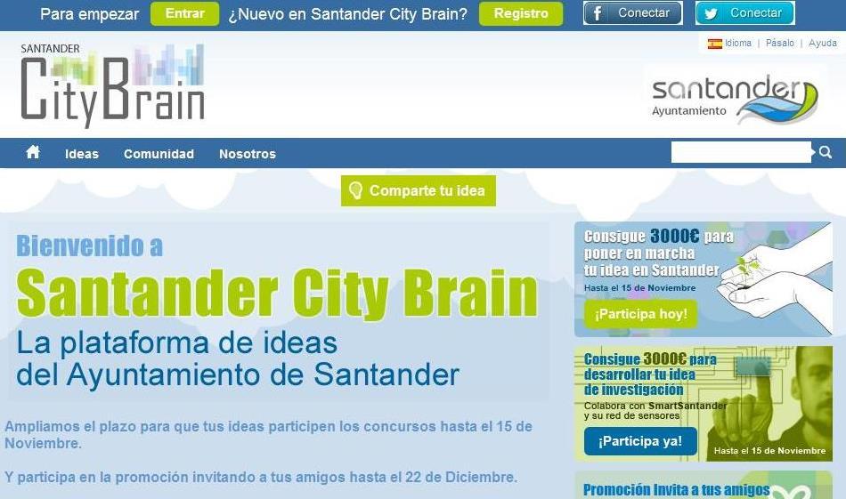 34 ideas compiten hasta ahora dentro del  concurso abierto en 'Santandercitybrain'