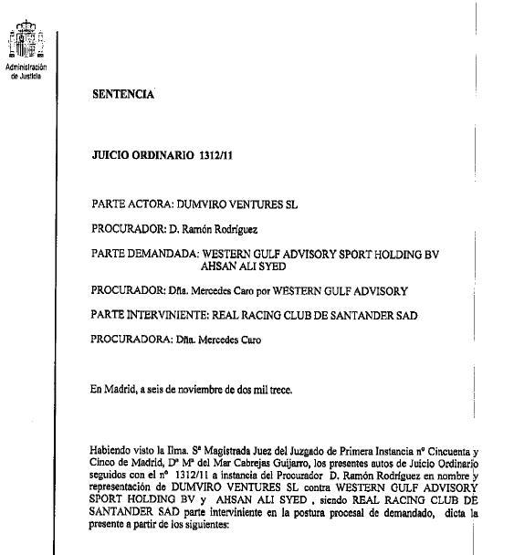 El juzgado devuelve la propiedad del Racing de Santander a Jacobo Montalvo
