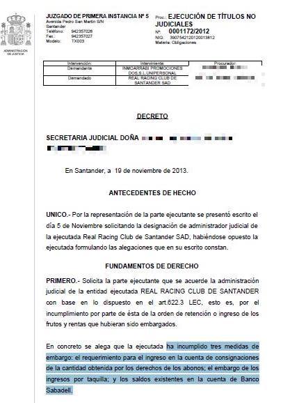 Se aprueba la administración judicial para el Racing de Santander