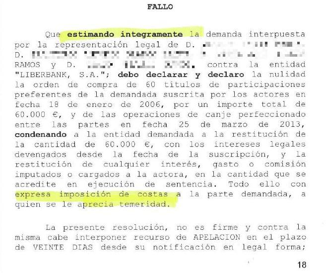 """El juez afea la """"temeridad"""" de Liberbank al oponerse a las demandas con argumentos """"rechazados por multitud de sentencias"""""""
