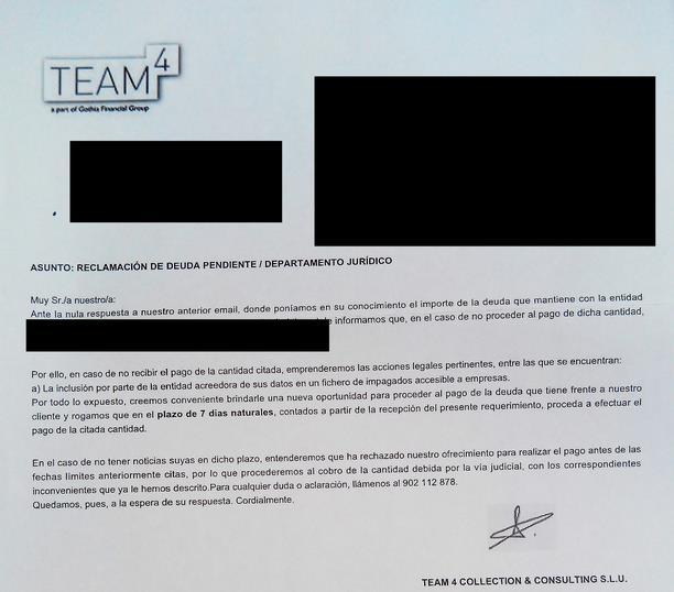 En la imagen, una de las miles de amenazantes cartas que envían estas empresas