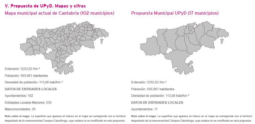 Mapa propuesto por UPYD con la eliminación de 85 ayuntamientos cántabros