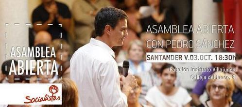 El Secretario General del PSOE visita Santander para participar en una asamblea abierta
