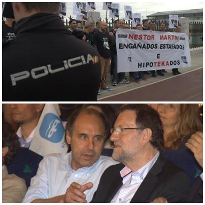 Trabajadores de Nestor Martin (Arriba) / Ignacio Diego y Mariano Rajoy (Abajo)