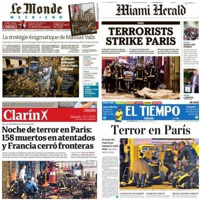 La prensa internacional lleva a su portada los atentados de París #ParisAttacks