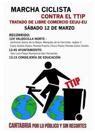 Convocada una marcha ciclista contra el Tratado de Libre Comercio TTIP