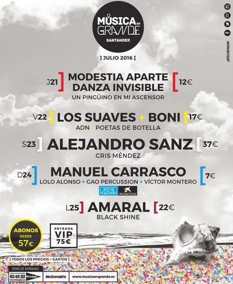 Alejandro Sanz, Amaral, Manuel Carrasco y Los Suaves, protagonistas de Música en Grande 2016