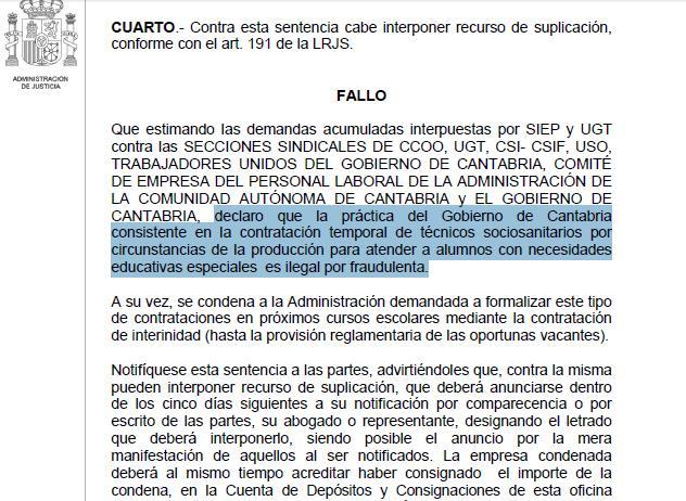 El Gobierno de Cantabria, condenado por realizar contrataciones de forma «ilegal por fraudulenta»