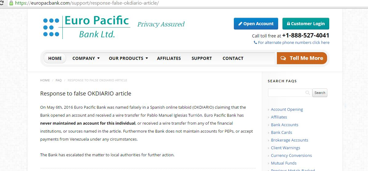 Euro Pacific Bank niega que Pablo Iglesias recibiera dinero de Venezuela