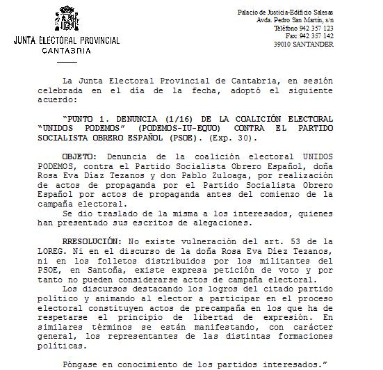 La Junta Electoral rechaza la denuncia presentada por Unidos Podemos contra el PSOE