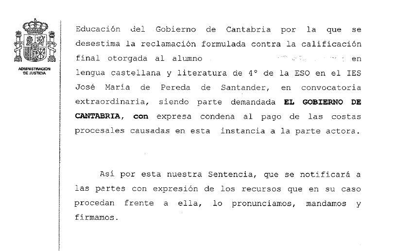 La Justicia rechaza anular un suspenso de un alumno de Cuarto de Secundaria
