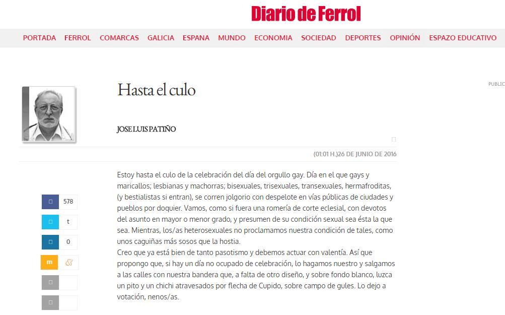 """Captura de pantalla del polémico artículo """"Hasta el culo"""", escrito por José Luis Patiño"""