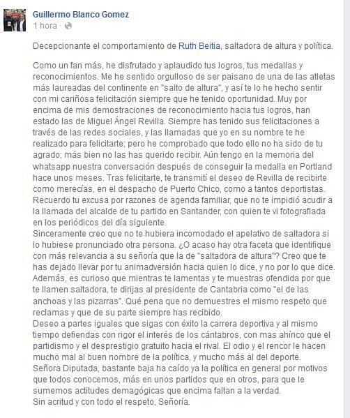 Guillermo Blanco desvela que Revilla quiso recibir a Ruth Beitia