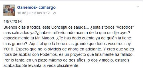 """Ganemos Camargo: """"Aquí el que la tiene más grande soy yo"""""""