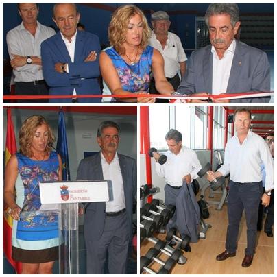 Inaugurado el polideportivo de Requejada / Revilla y Díaz cortan la cinta inaugural. Revilla probó varios de los aparatos deportivos.