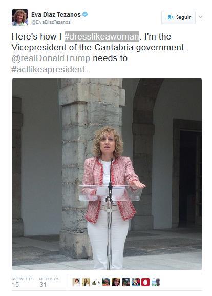 Eva Díaz Tezanos se une a la respuesta contra el machismo de Donald Trump con #dresslikeawoman