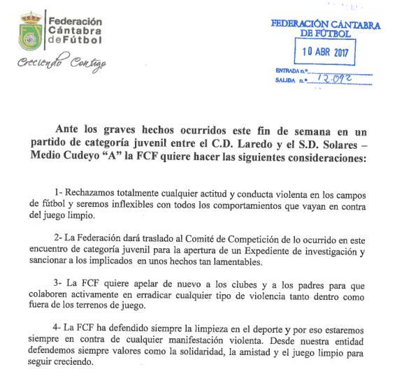 La Federación Cántabra de Fútbol rechaza los incidentes en un partido juvenil