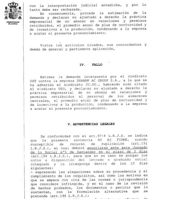 Una sentencia obliga a Lupa a abonar los pluses de nocturnidad y de producción en vacaciones y permisos retribuidos