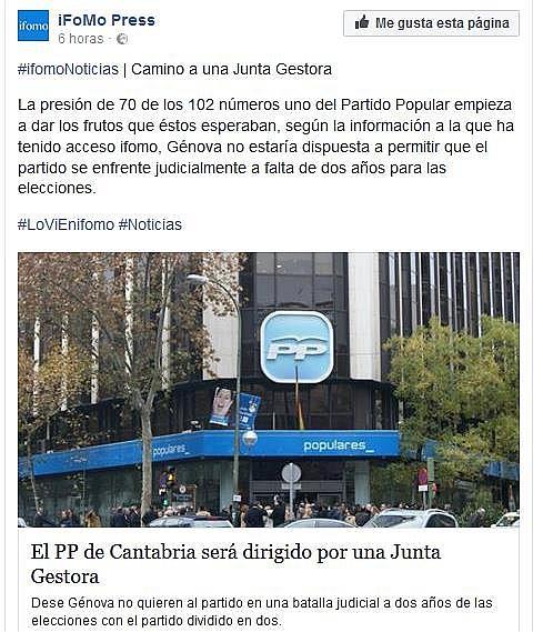 Génova niega que el PP de Cantabria vaya a ser dirigido por una Junta Gestora
