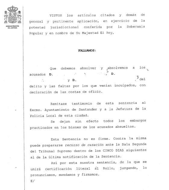 Tres policías locales de Santander absueltos de la acusación de extralimitarse en una detención