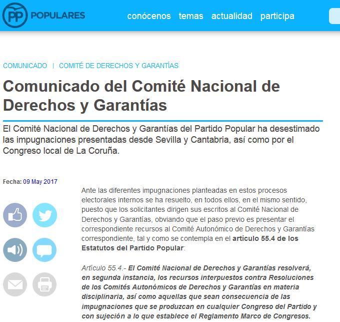 El PP rechaza la impugnación del congreso de Cantabria