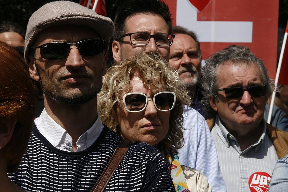 Rosa Eva Díaz Tezanos en la manifestación del 1 de mayo en Santander