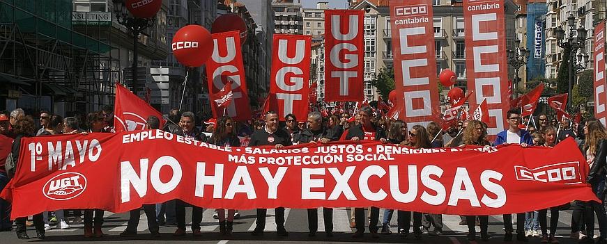 Más de 6.000 personas secundan la manifestación del 1 de mayo de UGT y CCOO en Santander