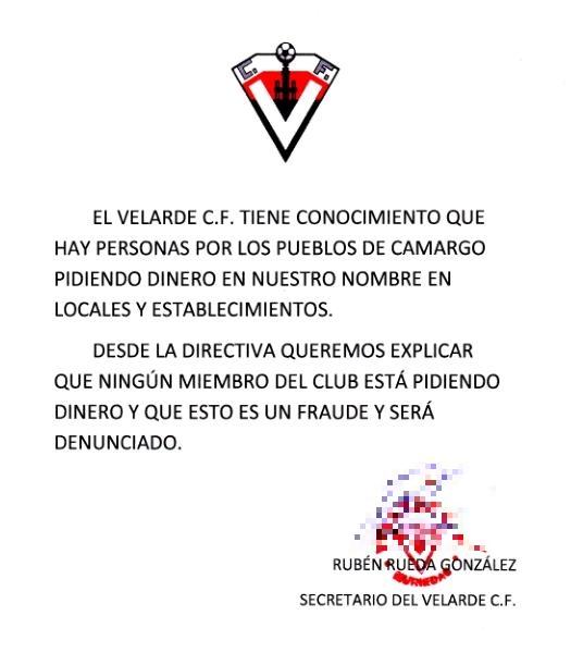 El Velarde C. F. alerta del fraude de que hay personas que piden dinero en su nombre